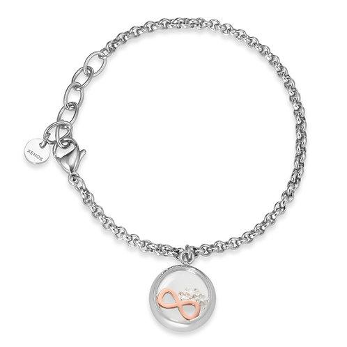 Armband Edelstahl Zirkonia Infinity 15-18,5 cm verstellbar