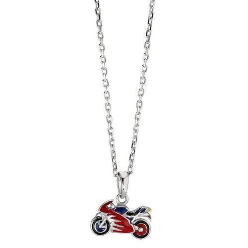 Halskette mit Anhänger Silber rhodiniert Motorrad 38-40 cm verstellbar