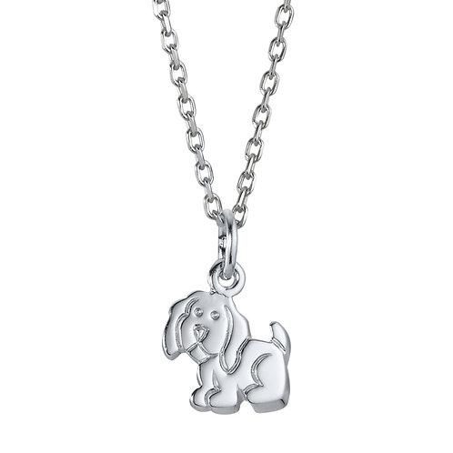 Halskette mit Anhänger Hund Silber rhodiniert