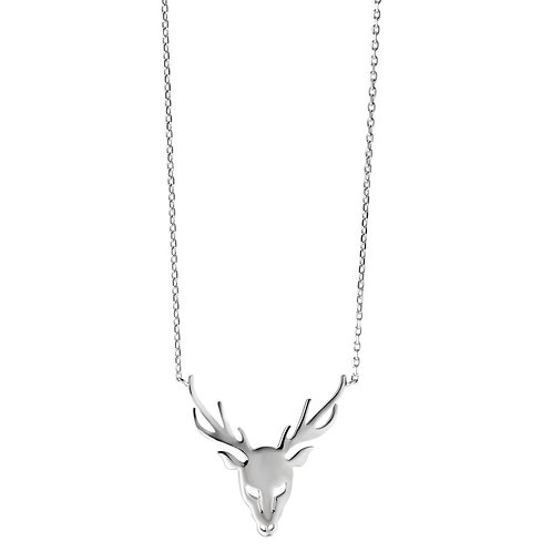 Collier Silber rhodiniert Hirsch 40-45 cm verstellbar Ø25 mm