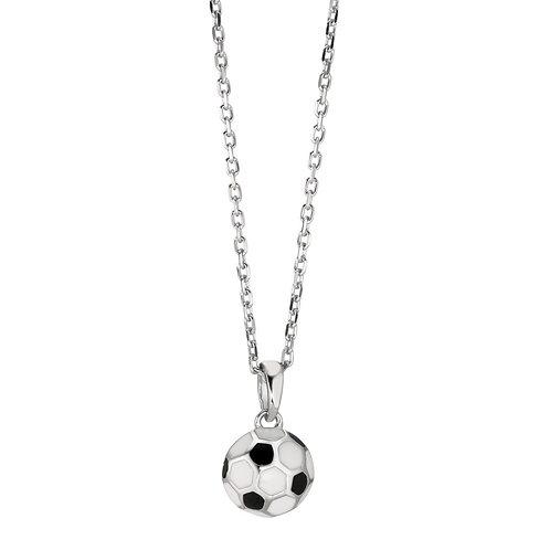 Halskette mit Anhänger Silber rhodiniert Fussball 38-40 cm verstellbar Ø9.0 mm