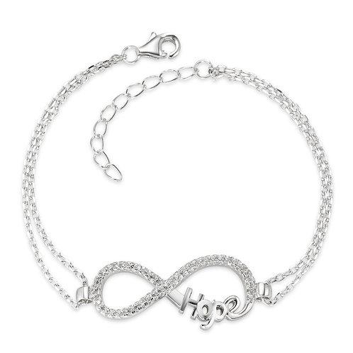 Armband Silber Zirkonia rhodiniert Infinity 15,5-18.5 cm verstellbar