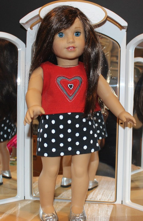 30a4fb9ef0af3 Red cotton ribbed knit doll t-shirt with heart applique and black netted  heart insert ...