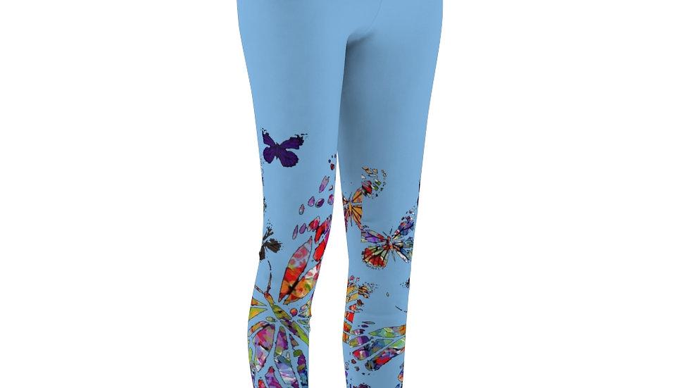 Multi Color Butterfly On Light Blue Women's Cut & Sew Casual Leggings