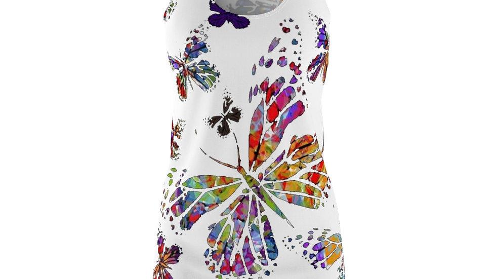 Multi Color Butterfly Women's Cut & Sew Racerback Dress