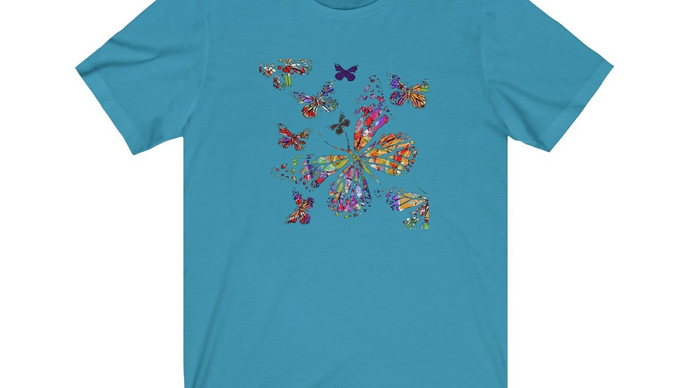 Multi Color Butterfly Jersey Short Sleeve Tee