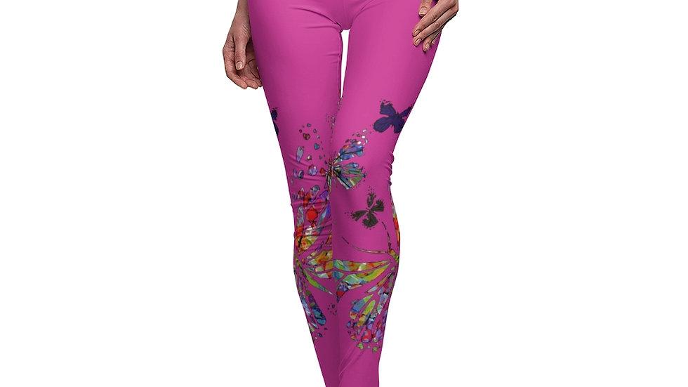 Multi Color Butterfly On Fuchsia Women's Cut & Sew Casual Leggings