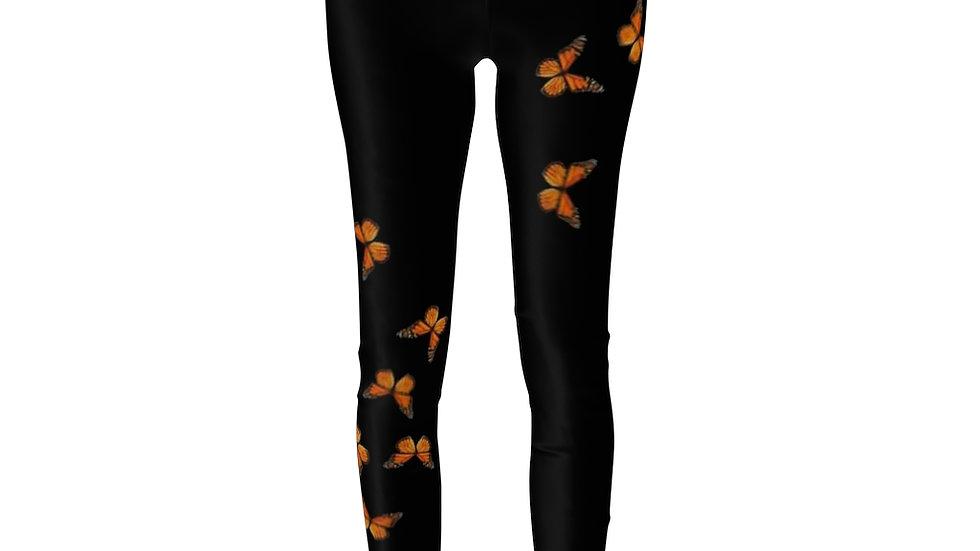 Marnarch Butterfly On black Women's Cut & Sew Casual Leggings