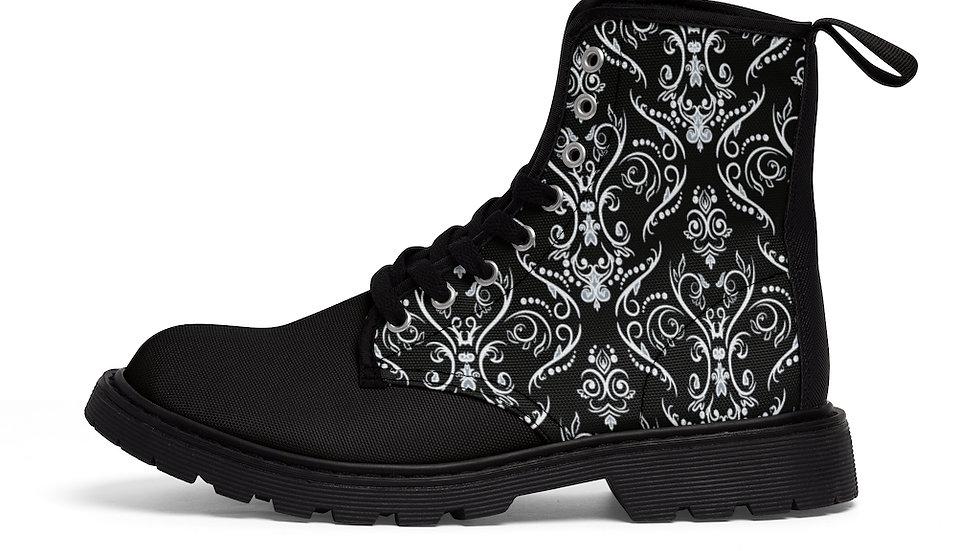 Y Arts Black/White Men's Canvas  Boots