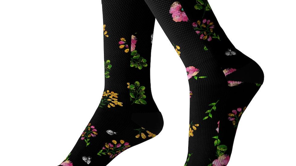 Floral Pattern Black Accent Socks