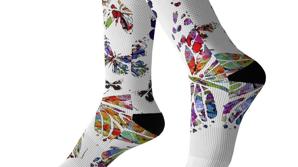 Y Arts Multi Color Butterfly Socks