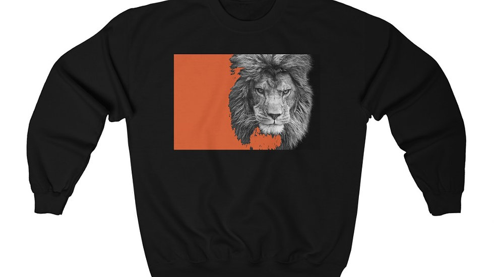 Orange Lion Print  Heavy Blend™ Crewneck Sweatshirt