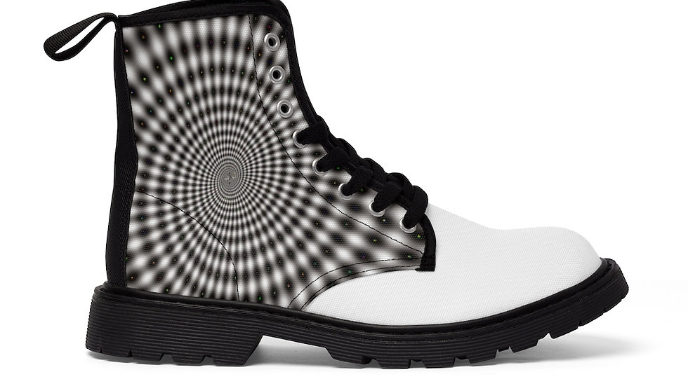 Y Arts White/Gray Optic Design Men's Canvas Boots