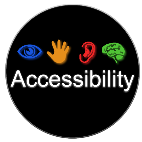 """The logo is a black circle with the word """"Accessibility"""" appearing in bold white text. Four high contrast icons appear immediately above the text: a blue eye, a yellow hand, a red ear, and a green brain. These icons represent different modalities people use when interacting with technology—vision, touch, hearing, and cognition."""