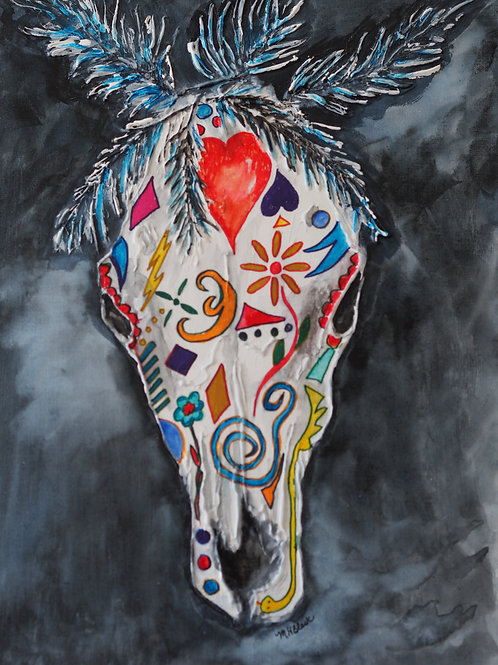 """NM Skull"" by Mary Black Art"