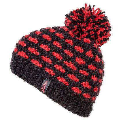 Wintermütze rot/schwarz