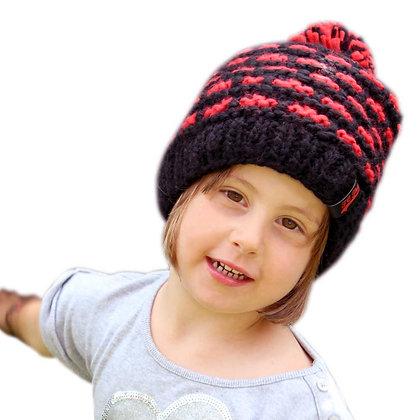 Wintermütze Kids rot/schwarz