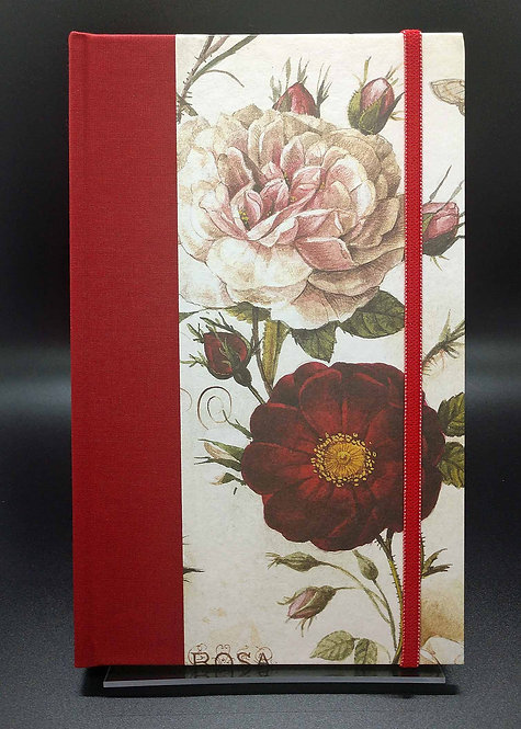"""Bomo Art Half-Fabric Bound Lined Journal """"Roses"""" Cover"""
