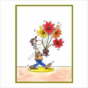 Guy bringing flowers