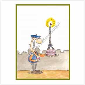 Parisian guy with Eiffel Tower birthday cake