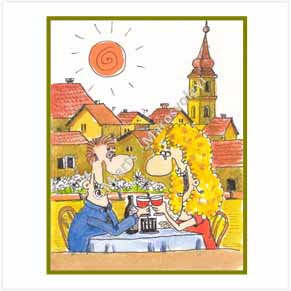 Couple celebrating in restaurant - picturesque village
