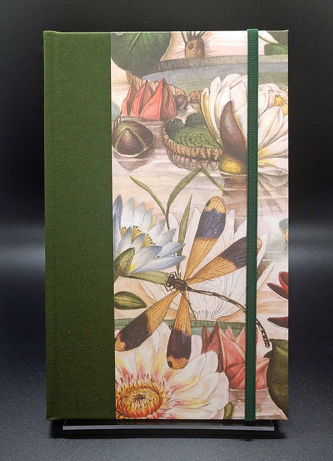 "Bomo Art Half-Fabric Bound Lined Journal ""Water Lily"" Cover"