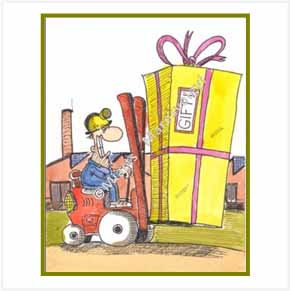 Guy Bringing Large Gift Box With Forklift