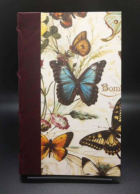 """Bomo Art Half-Leather Bound Lined Journal """"Butterflies"""" Cover"""