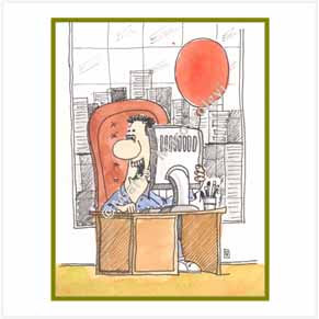 Guy in office with red balloon