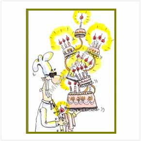 Chef with birthday cake
