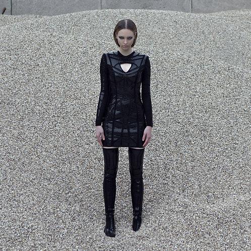 Black croc body-con dress