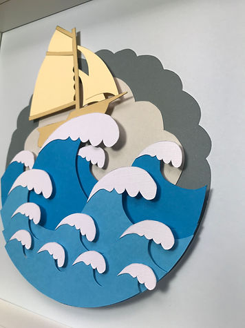 """Paper cut """"Stormy Boat"""""""