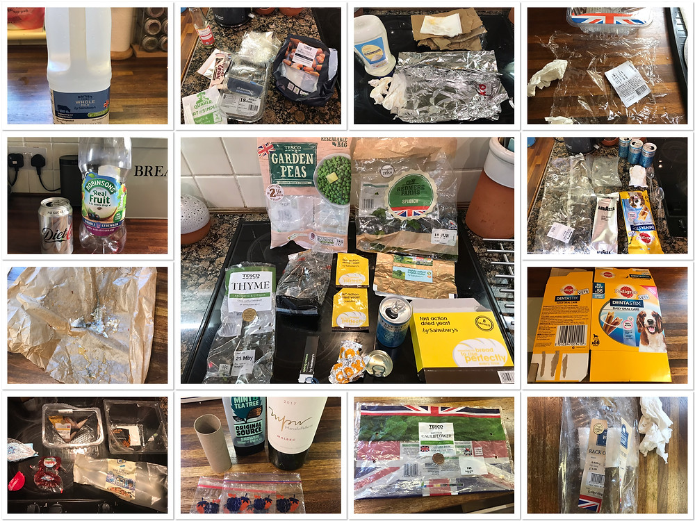 Collage of one week's photos of all our rubbish
