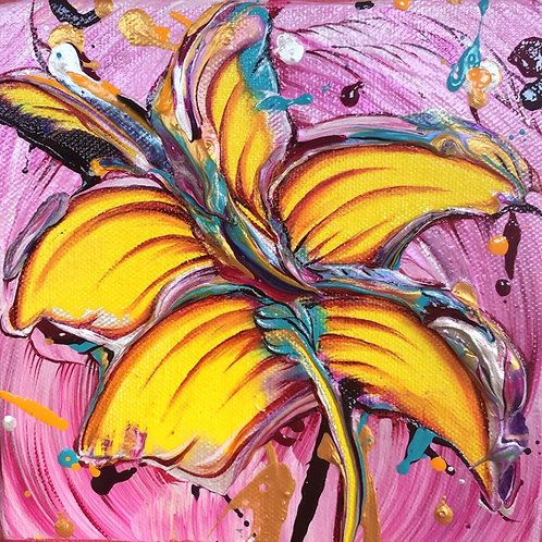 Original Mini Painting - 6x6 - Pink