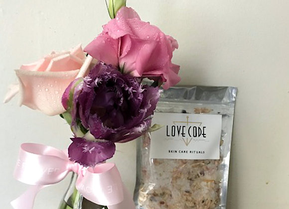 Medium Bloom Bottle with Love Code Bath Soak