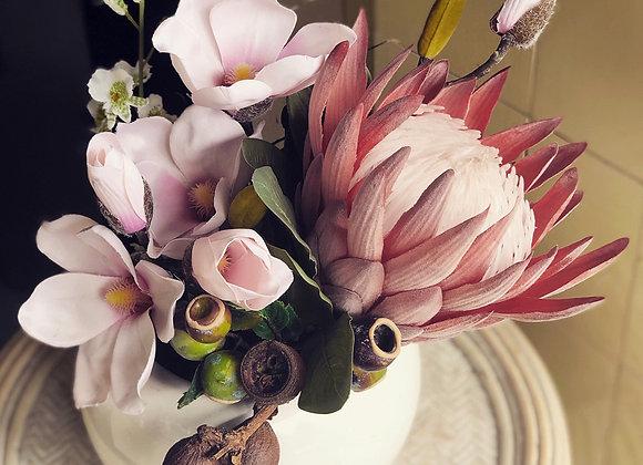 Romantic Seasonal Arrangement in Ceramic Base