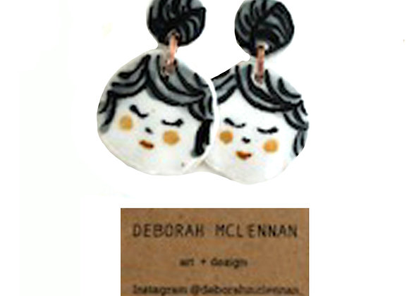 Deborah Meclennan Handmade Ceramic Earring Portrait