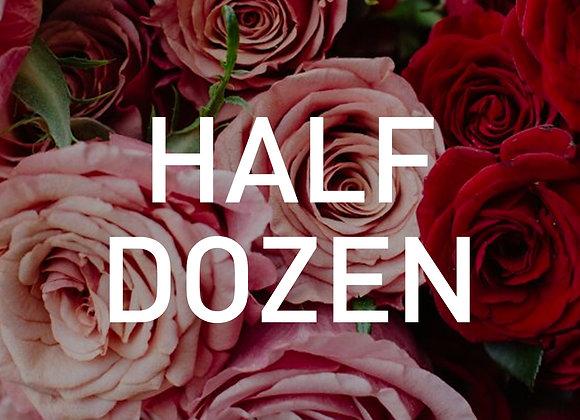 Coloured Half Dozen Roses