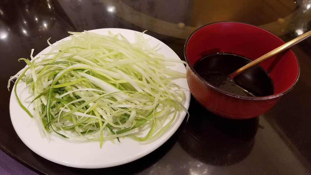 Shredded Scallions and Cucumbers and Hoisin Sauce