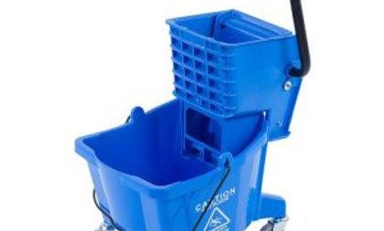 Carlisle 26 Quart Mop Bucket with Side-Press Wringer, Blue