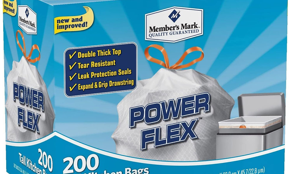 Members mark power flex 13 gal. kitchen trash bags. 200 count