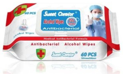 Sweet Carefor 75% Alcohol Wipes, Antibacterial, 60/Pack