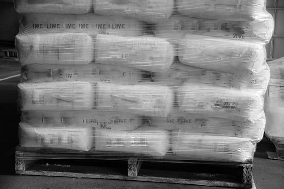Pallet, bags stacked and wrapped