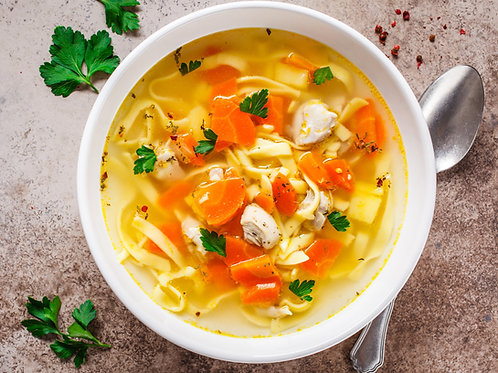 Hearty chicken noodle soup (sizes available)