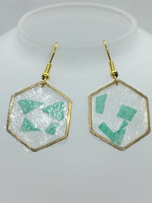 hexagonal bubblewrap earrings