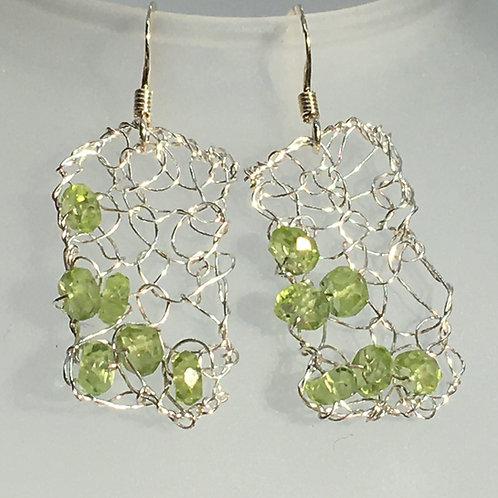 knitted peridot earrings