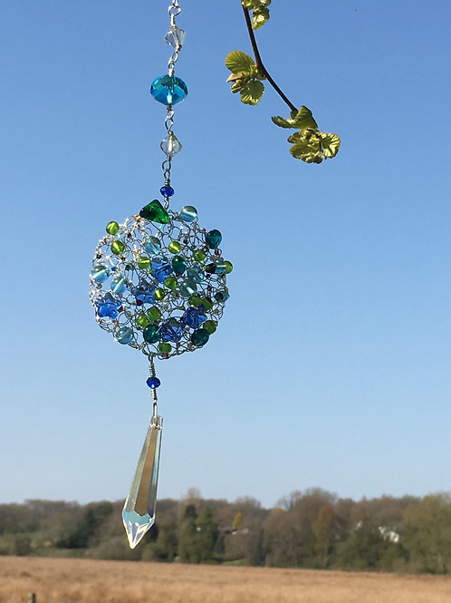 Crocheted bead suncatcher
