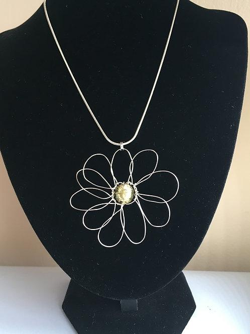 Olive green daisy pendant