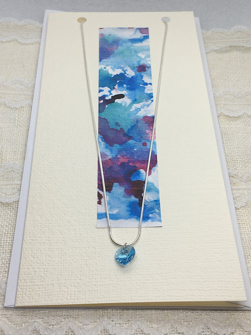 Pale Blue Crystal Heart Necklace on Greetings Card