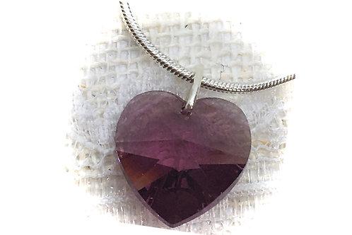 Amethyst Crystal Heart Necklace